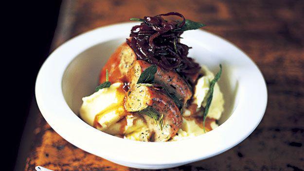 The best sausage and super mash with onion gravy recipe 9kitchen jamie oliver ijamies forumfinder Gallery