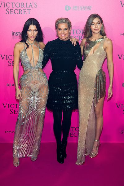 Bella, Yolanda and Gigi Hadid at the Victoria's Secret after party.