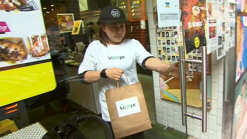 Kloopr will donate a portion of the delivery fee to Foodbank Victoria. Picture: 9NEWS