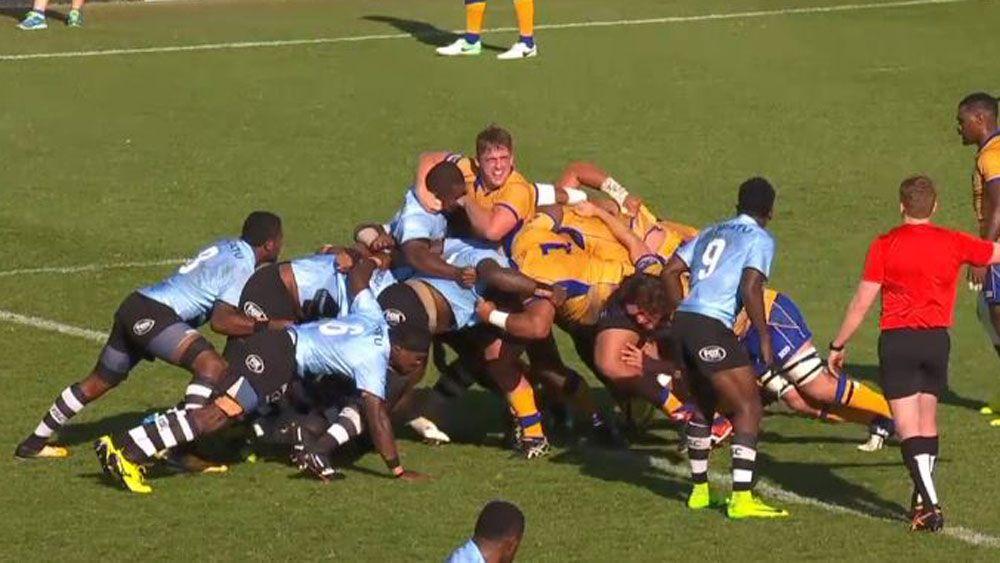 Fijian rugby biting.