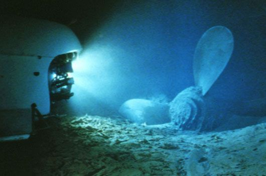 The submerged propeller from the Titanic. (AAP)