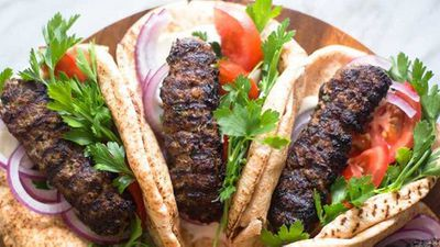 "Recipe:&nbsp;<a href=""http://kitchen.nine.com.au/2017/05/02/11/13/beef-kofta-wrap-with-tahini-sauce"" target=""_top"">Beef kofta wrap with tahini</a>"