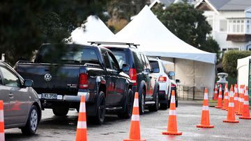 Cars queue up for coronavirus testing in Auckland, New Zealand.