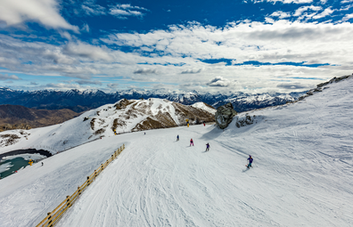 New Zealand mountain panorama and ski slopes as seen from Coronet Peak ski resort, Queenstown
