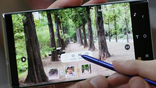 The Samsung S Pen can be used to edit videos on the device.