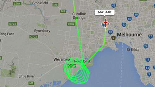 A flight radar map of the aircraft being forced to turn around. (Supplied)