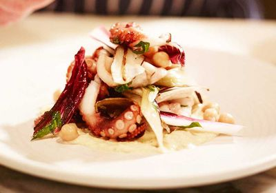 """<a href=""""http://kitchen.nine.com.au/2016/09/14/12/09/woodfired-grilled-baby-octopus-salad"""" target=""""_top"""">Ben Sitton's woodfired grilled baby octopus salad</a><br /> <br /> <a href=""""http://merivale.com.au/uccello"""" target=""""_top"""">Uccello, Sydney NSW</a>"""