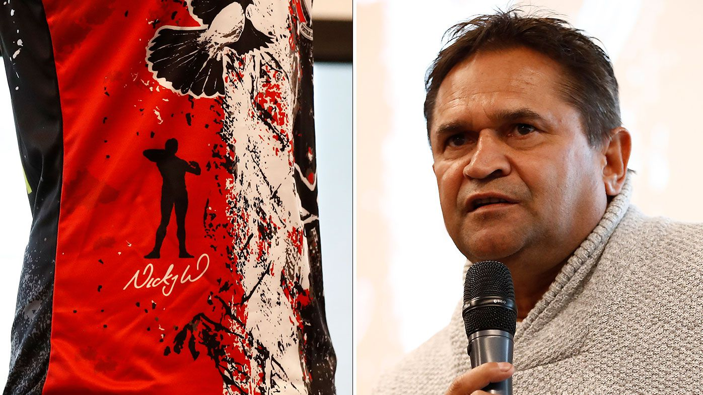 Nicky Winmar's famous anti-racism gesture featured on St Kilda Indigenous round jumper