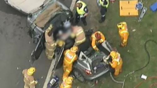Woman trapped, five more hurt in Melbourne car crash