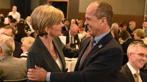 Julie Bishop and Peter Greste greet each other in Sydney in 2015 following the journalist's release.