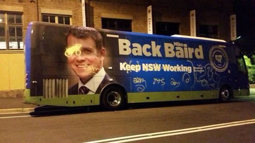 The grafitti was discovered overnight and cleaned off before Mr Baird left in the morning. (9NEWS)