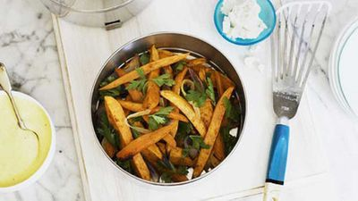 Sweet potato and red onion salad with feta dressing