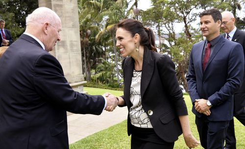 New Zealand Prime Minister Jacinda Ardern greets Governor-General Sir Peter Cosgrove in March. (AAP)