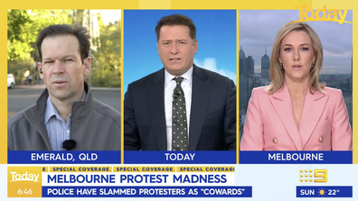 Karl Stefanovic condemned the violence in Today's daily newschat panel.