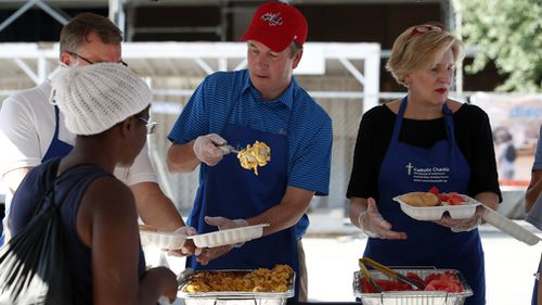 The Yale graduate volunteers at Catholic charities. Picture: AP