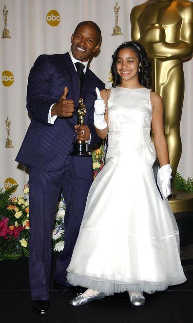 Jamie Foxx, daughter Corinne Foxx. Oscars 2005