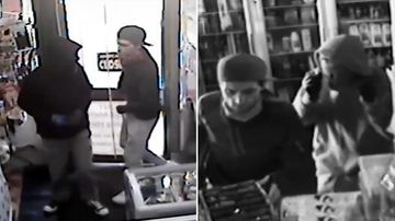 The video shows two men, one armed with a knife and another with a tomahawk leaping over the store counter to raid a cash register. (Supplied)