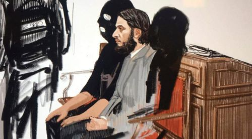Salah Abdeslam appears at the Brussels Justice Palace in Brussels. (AAP)