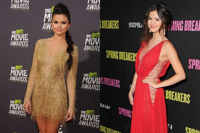 Glowing in a short, golden gown at the 2013 MTV Movie awards and ravishing in red at the Spring Breakers premiere, Selena steps up her red carpet glamour.