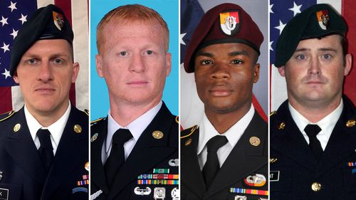 From left, Staff Sargent Bryan C. Black, 35, Staff Sargent Jeremiah W. Johnson, 39, Sargent La David Johnson, 25 and Staff Sargent Dustin M. Wright, 29, were killed in an ambush in Niger. (AP)