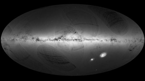 This European Space Agency satellite image of the Milky Way shows the bright stars within it, indicating denser concentrations. (AP).