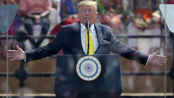 Donald Trump addresses the crowd.