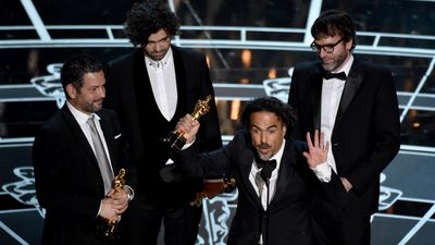 <b>Best Original Screenplay:</b><br><br>Alexander Dinelaris, Armando Bo, Alejandro Inarritu and Nicolas Giacobone accept their Oscars for 'Birdman'. (AAP)