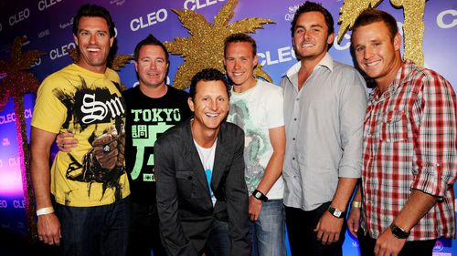 Rod Kerr (second from the left) and the cast of Bondi Rescue at the Cleo Miami Nights Swimsuit Party in Sydney in 2008.