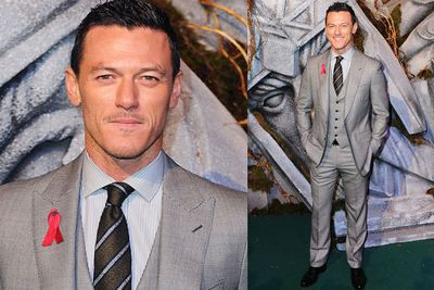 Luke Evans, who plays Bard in <i>The Hobbit</i>, plays it cool in grey.