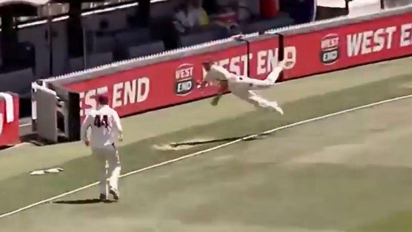 Jack Wildermuth reels in an all-time great catch to dismiss Jake Lehmann in Sheffield Shield clash