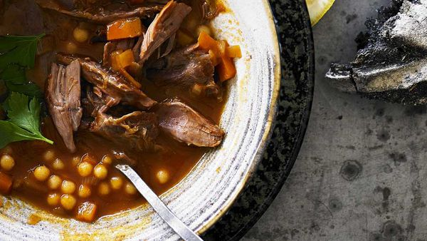 Cinnamon spiced lamb shank soup with pearl couscous recipe