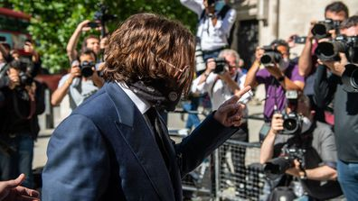 Johnny Depp arrives at The Royal Courts of Justice on the Strand on July 7, 2020 in London, England