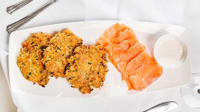 """Recipe: <a href=""""https://kitchen.nine.com.au/2017/05/26/14/42/susie-burrells-sweet-potato-and-carrot-fritters-with-smoked-salmon"""" target=""""_top"""">Susie Burrell's sweet potato and carrot fritters with smoked salmon</a>"""