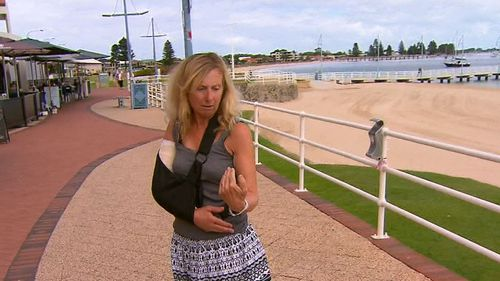 Christine Barrett said she was  jogging along the Rockingham foreshore when the cyclist collided with her. (9NEWS)