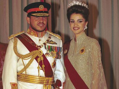 King Abdaullah and Queen Rania at Raghadan Palace, 1999.