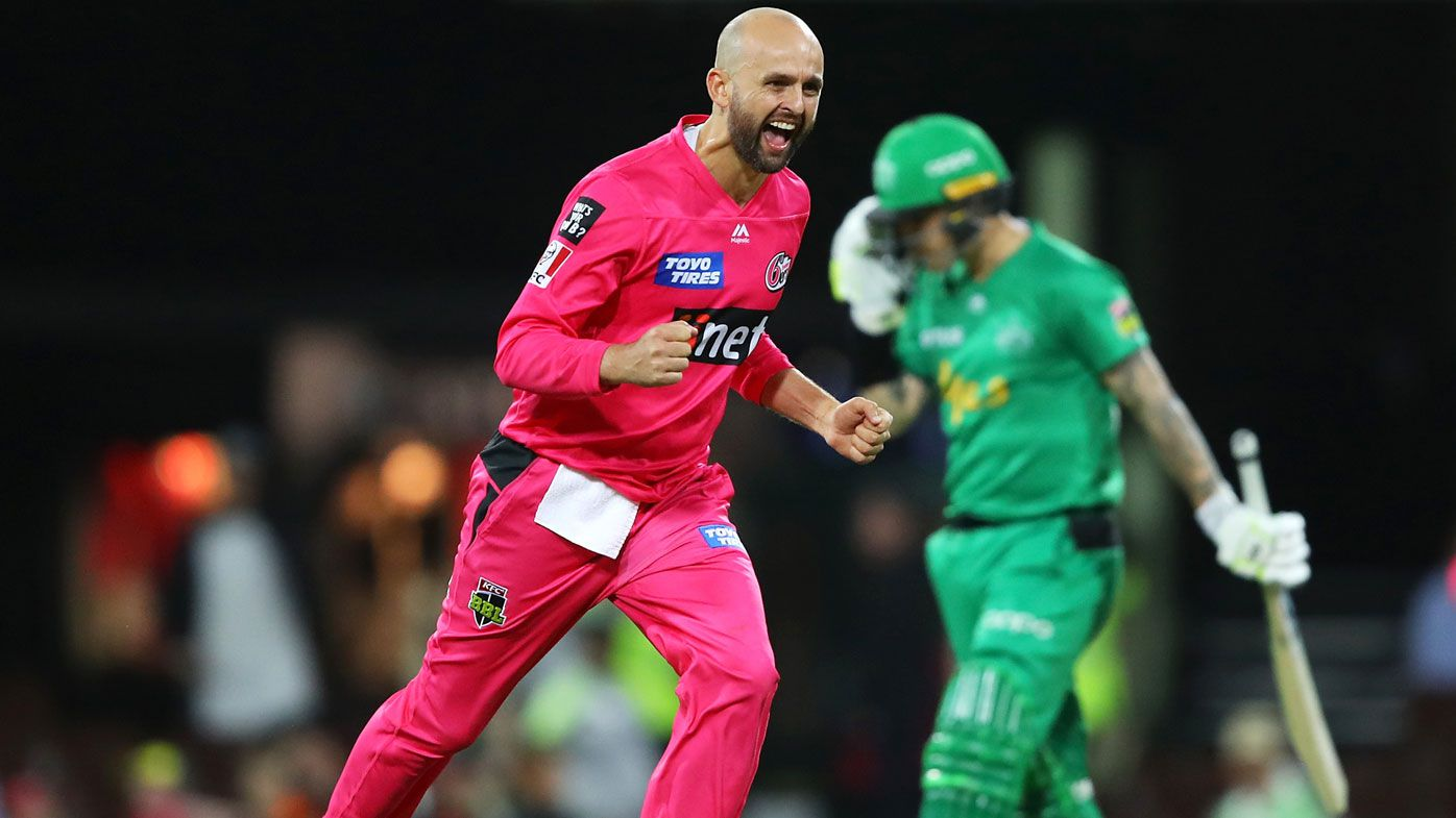 Nathan Lyon of the Sixers celebrates taking the wicket of Marcus Stoinis of the Stars during the Big Bash League Final match between the Sydney Sixers and the Melbourne Stars at the Sydney Cricket Ground on February 08, 2020 in Sydney, Australia