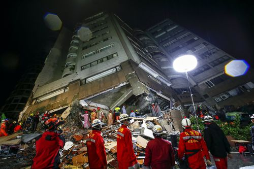 The 6.4 magnitude earthquake has devastated parts of Taiwan. (AAP)