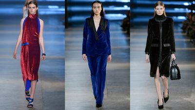 Christopher Kane put velvet to work for loose tailored pieces and in coats.
