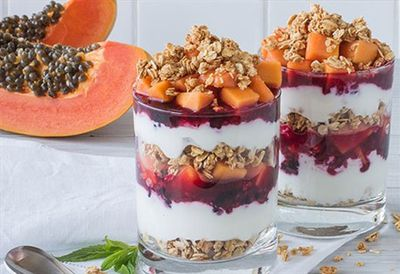 Red papaya and mixed berry parfaits