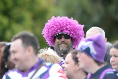 Storm fans at a special event in Melbourne leading up to the grand final. (AAP)