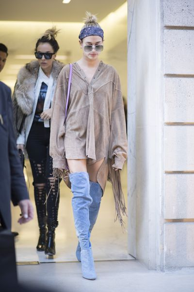 "Hailey Baldwin has taken the demure sex kitten approach. This season's other hot trend, <a href=""http://style.nine.com.au/2016/08/04/10/47/thigh-high-boots-return"" target=""_blank"">thigh high boots</a>, act as default trousers, offering coverage while giving the illusion of baring all."