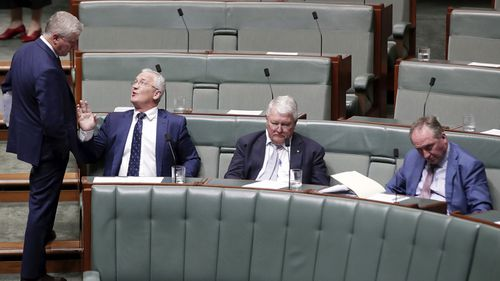 Deputy Prime Minister Michael McCormack speaks with Nationals MP Damian Drum during Question Time at Parliament House.