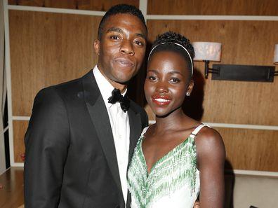 Lupita Nyong'o, Chadwick Boseman,2014 Vanity Fair Oscar Party