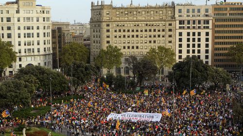 Tens of thousands marched in Barcelona to support the region of Catalonia withdrawing from Spain.