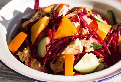 """Recipe: <a href=""""http://kitchen.nine.com.au/2016/05/20/10/50/pohs-tuna-persimmon-and-beetroot-salad"""" target=""""_top"""">Poh's tuna, persimmon and beetroot salad</a>"""