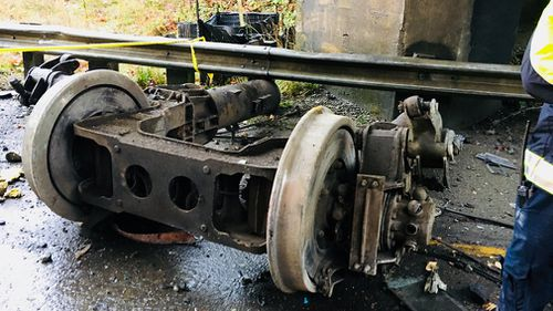 Wreckage on the road at the scene of the derailment. (Pierce County Sheriff's Department)