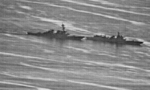 A US Navy photo obtained by the gCaptain website showing a confrontation between the USS Decatur (left) and PRC Warship 170 in the South China Sea on Sunday.
