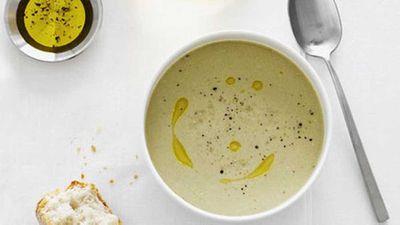 """Recipe:&nbsp;<a href=""""http://kitchen.nine.com.au/2016/05/17/15/31/creamed-salt-cod-and-roast-garlic-soup-zuppa-di-baccal-mantecato"""" target=""""_top"""">Creamed salt cod and roast garlic soup (Zuppa di baccalà mantecato)</a>"""