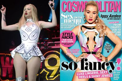 Scandal! Iggy's famous hips were noticibly downsized on the cover of Aussie Cosmo. This prompted a furore among fans of the rapper's curves and body image advocates everywhere.