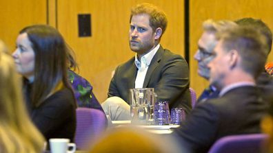 Prince Harry, Duke of Sussex listens as he attends a sustainable tourism summit at the Edinburgh International Conference Centre on February 26, 2020 in Edinburgh, Scotland.